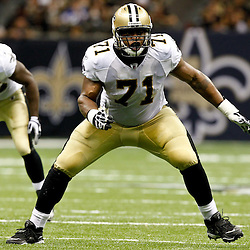 August 12, 2011; New Orleans, LA, USA; New Orleans Saints offensive tackle Charles Brown (71) against the San Francisco 49ers during the second half of a preseason game at the Louisiana Superdome. The New Orleans Saints defeated the San Francisco 49ers Mandatory Credit: Derick E. Hingle