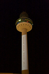 LIVERPOOL, ENGLAND - Tuesday, April 26, 2016: Radio City illuminate the number 96 on their logo at St. John's Beacon and list the names of the victims, here Kester Roger Marcus Ball, in tribute those who lost their lives in the Hillsborough Disaster on the 15 April 1989. This is to mark the verdicts in the two year inquest that returned a verdict of Unlawful Killing. (Pic by David Rawcliffe/Propaganda)