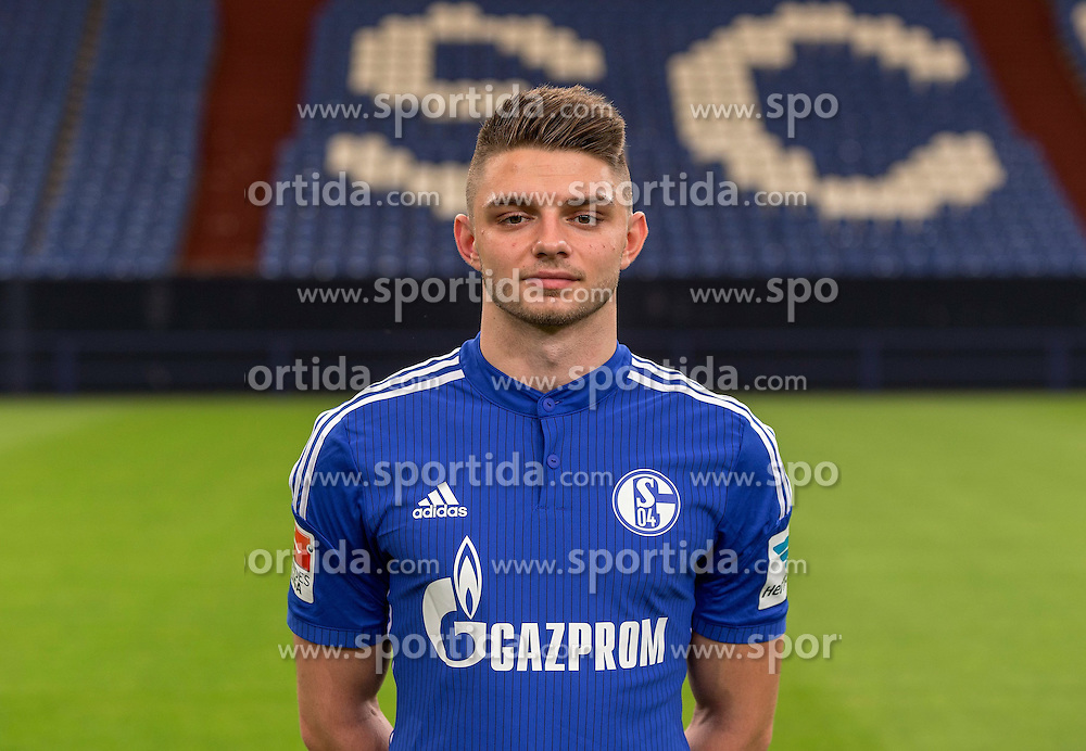 23.06.2015, Veltins-Arena, Gelsenkirchen, GER, 1. FBL, Schalke 04, Fototermin, im Bild Maurice Multhaup (Schalke) // during the official Team and Portrait Photoshoot of German Bundesliga Club Schalke 04 at the Veltins-Arena in Gelsenkirchen, Germany on 2015/06/23. EXPA Pictures &copy; 2015, PhotoCredit: EXPA/ Eibner-Pressefoto/ Hommes<br /> <br /> *****ATTENTION - OUT of GER*****
