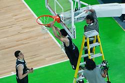 Partizan cutting basketball net  after final match of Basketball NLB League at Final Four tournament between KK Union Olimpija (SLO) and Partizan Belgrade (SRB), on April 21, 2011 at SRC Stozice, Ljubljana, Slovenia. (Photo By Matic Klansek Velej / Sportida.com)