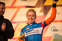 Amy Pieters (NED) of Team Netherlands celebrates retaining the sprint jersey after Stage 2 of the Lotto Thuringen Ladies Tour - a 102.9 km road race, starting and finishing in Dortendorf on July 14, 2017, in Thuringen, Germany. (Photo by Balint Hamvas/Velofocus.com)
