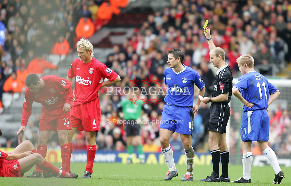 LIVERPOOL, ENGLAND - SATURDAY JANUARY 1st 2005: Chelsea's Frank Lampard is shown a yellow card during the Premiership match against Liverpool at Anfield. (Pic by David Rawcliffe/Propaganda)