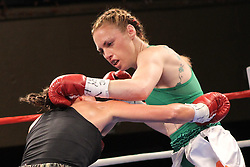 August 2, 2012; New York, NY; USA; Heather Hardy and Mikayla Nebel during their 4 round bantamweight bout at Roseland Ballroom.  Hardy won via unanimous decision.