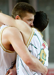 Dino Muric and Vlado Ilievski of Olimpija celebrate during basketball match between KK Union Olimpija and KK Krka in 3rd Quarterfinal of Spar Slovenian Cup, on February 11, 2011 in Sportna dvorana Poden, Skofja Loka, Slovenia. Union Olimpija defeated Krka 122-113 after 3-overtimes. (Photo By Vid Ponikvar / Sportida.com)