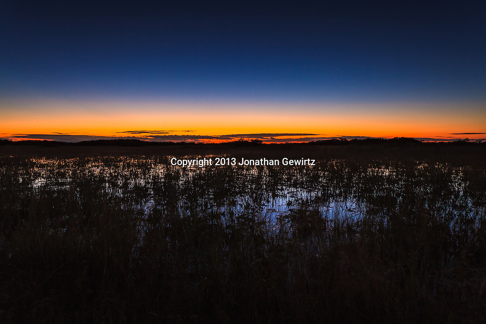 Deep twilight over sawgrass prairie in the Shark Valley section of Everglades National Park, Florida. WATERMARKS WILL NOT APPEAR ON PRINTS OR LICENSED IMAGES.