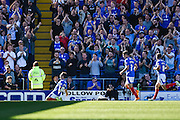 Conor Chaplin celebrates his first goal during the Sky Bet League 2 match between Portsmouth and Barnet at Fratton Park, Portsmouth, England on 12 September 2015. Photo by David Charbit.