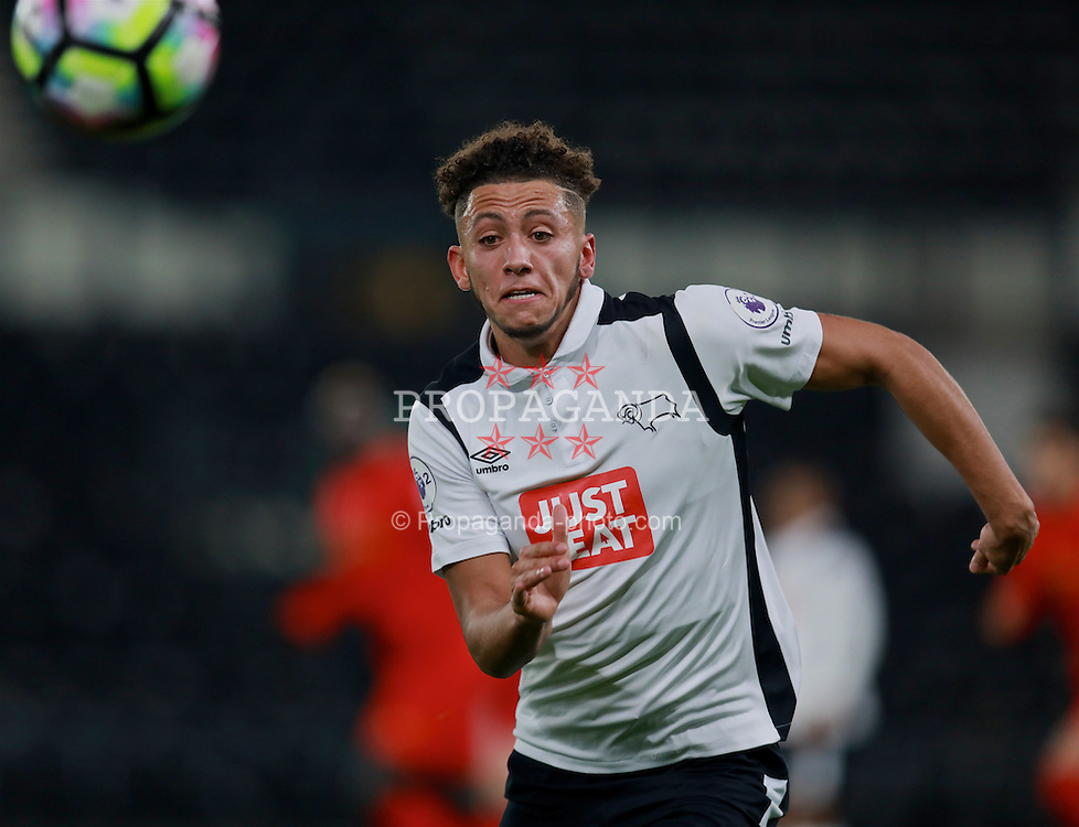 DERBY, ENGLAND - Monday, November 28, 2016: Derby County's Kellan Gordon in action against Liverpool during the FA Premier League 2 Under-23 match at Pride Park. (Pic by David Rawcliffe/Propaganda)