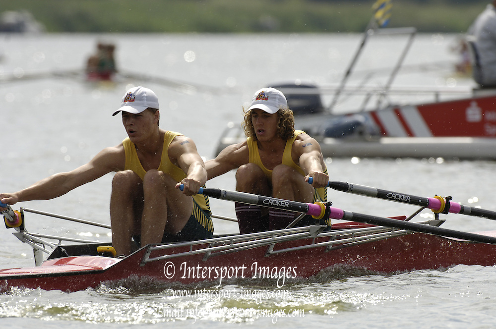 2005 FISA Junior  World Rowing Championships, Brandenburg, GERMANY. AUS JM2X Bow  Matthew Bolt and James McCrea - .Friday Semi-Final moving away from the start. 05.08.2005. . © Peter Spurrier/Intersport Images - email images@intersport-images..[Mandatory Credit Peter Spurrier/ Intersport Images] Rowing Course: Brandenburg, Havel Rowing Course, Brandenburg, GERMANY