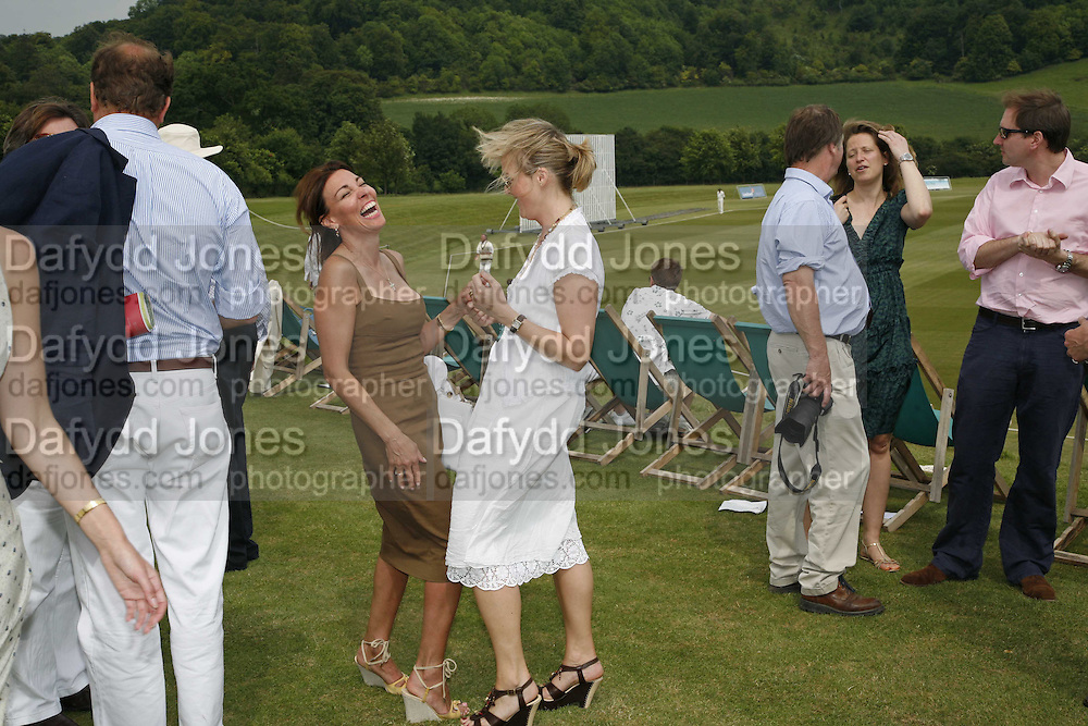 ELLEN SPAN AND CHAR PILCHER, Guy Leymarie and Tara Getty host The De Beers Cricket Match. The Lashings Team versus the Old English team. Wormsley. ONE TIME USE ONLY - DO NOT ARCHIVE  © Copyright Photograph by Dafydd Jones 66 Stockwell Park Rd. London SW9 0DA Tel 020 7733 0108 www.dafjones.com