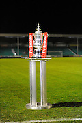 The FA Cup next to the pitch before the The FA Cup match between Eastleigh and Swindon Town at Arena Stadium, Eastleigh, United Kingdom on 4 November 2016. Photo by Graham Hunt.
