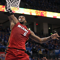 Jun 12, 2012; Oklahoma City, OK, USA;  Miami Heat small forward LeBron James (6) dunks the ball against the Oklahoma City Thunder during the second quarter of game one in the 2012 NBA Finals at the Chesapeake Energy Arena.  Mandatory Credit: Derick E. Hingle-USA TODAY SPORTS