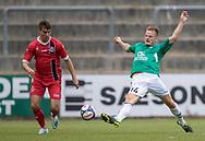 Ricki Olsen (FC Helsingør) og Nichlas Rohde (AB) under kampen i Sydbank Pokalen, 1. runde,  mellem AB og FC Helsingør den 6. august 2019 på Gladsaxe Stadion (Foto: Claus Birch).