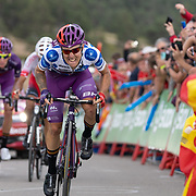 28-08-2019: Ronde van Spanje: L Eliana: Javalambre  the finsh, Angel Madrazo, Burgos-BH team, Cofidis, Jesus Herrada, Jetse Bol, Madruzo wins. Jetse Bol on a second place, stage 5 finish, Vuelta a Espana 2019