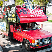 "An elaborately signed truck with Christian messages at the Tea Party rally of 08.28.10. Conservative television commentator Glenn Beck's ""Restore Honor"" conservative rally at the Lincoln Memorial on the National Mall, held on the 47th anniversary of Dr. Martin Luther King's famous ""I Have a Dream"" civil rights speach of 1963. Speakers from the stage erected on the lower steps of the Lincoln Memorial included Beck himself along with former vice presidential candidate Sarah Palin."