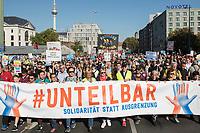 """13 OCT 2018, BERLIN/GERMANY:<br /> Demonstration """"#unteilbar"""" - """"Solidaritaet statt Ausgrenzung - fuer eine offene und freie Gesellschaft"""", Gertraudenstrasse / Strasse des 17. Juni<br /> IMAGE: 20181013-01-001<br /> KEYWORDS: Demo"""