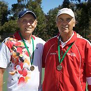 Joe Forrayl, Canada, (left) and Robert Bardsley, Canada, Semi Finalists, 60 Mens Doubles, during the 2009 ITF Super-Seniors World Team and Individual Championships at Perth, Western Australia, between 2-15th November, 2009.
