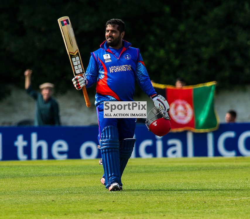 The second match of the second day of the T20 qualifiers in Scotland started off at te Grange Cricket Club , Edinburgh, between United Arab Emirates and Afghanistan. Shazad Mohammdi celebrates making his 50<br /> <br /> Ger Harley SportPix.org.uk 10 July 2015