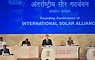 11.03.2018; New Delhi, India: PRESIDENT EMMANUEL MACRON AND INDIAN PM MODI<br /> join other world leaders at Founding Conference of the International Solar Alliance at Rashtrapati Bhavan, in New Delhi.<br /> The French President who is on a 3 day visit to India.<br /> Mandatory Credit Photo: &copy;NEWSPIX INTERNATIONAL<br /> <br /> IMMEDIATE CONFIRMATION OF USAGE REQUIRED:<br /> Newspix International, 31 Chinnery Hill, Bishop's Stortford, ENGLAND CM23 3PS<br /> Tel:+441279 324672  ; Fax: +441279656877<br /> Mobile:  07775681153<br /> e-mail: info@newspixinternational.co.uk<br /> **All Fees Payable To Newspix International**