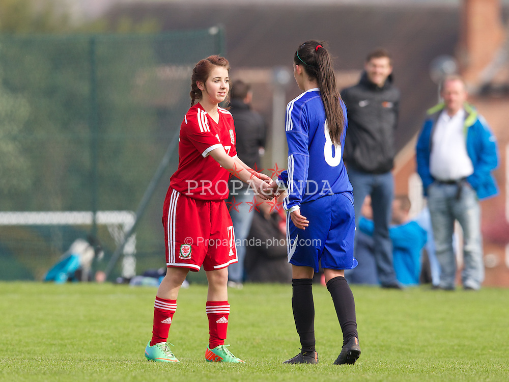 REPTON, ENGLAND - Thursday, April 17, 2014: Wales' Shannon Hobbs (St Richard Gywn High School) in action against Northern Ireland during the final Bob Docherty International Tournament match at Repton School. (Pic by David Rawcliffe/Propaganda)