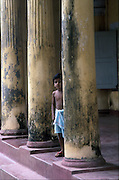 Pillars of an old house within old fort at Matara.
