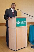 President McDavis speaks at the Presidential Teacher award ceremony in Baker Center, on Monday, September 31, 2015. Photo by Kaitlin Owens