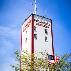 Picture of Frankfort Grainery in Frankfort Illinois. The Frankfort Grainery is a grain elevator and historic landmark in Frankfort Illinois a Southwestern suburb of Chicago. The photo is vertical, high resolution and was taken in 2009.