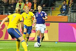 13.07.2011, Commerzbank Arena, Frankfurt, GER, FIFA Women Worldcup 2011, Halbfinale,  Japan (JPN) vs. Schweden (SWE), im Bild.von links:  Sara Larsson (Schweden), Annica Svensson (Schweden) gegen Aya Sameshima (Japan).. // during the FIFA Women´s Worldcup 2011, Semifinal, Japan vs Sweden on 2011/07/13, Commerzbank Arena, Frankfurt, Germany.   EXPA Pictures © 2011, PhotoCredit: EXPA/ nph/  Mueller       ****** out of GER / CRO  / BEL ******
