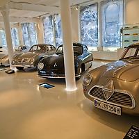 Borgward Hansa 1500 Sport-Coupe 1954, Porsche 356 Coupe 1950 and Goliath GP 700 Sport. Taken at the Prototyp Museum in Hamburg December 2011