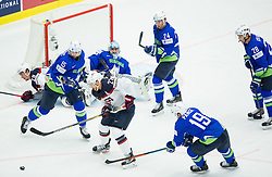 Trevor Lewis of USA between Blaz Gregorc of Slovenia and Ziga Pance of Slovenia during Ice Hockey match between Slovenia and USA at Day 10 in Group B of 2015 IIHF World Championship, on May 10, 2015 in CEZ Arena, Ostrava, Czech Republic. Photo by Vid Ponikvar / Sportida