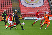 Forest Green Rovers Junior Mondal(25) crosses the ball to Forest Green Rovers Christian Doidge(9) to score during the EFL Sky Bet League 2 match between Crewe Alexandra and Forest Green Rovers at Alexandra Stadium, Crewe, England on 27 April 2019.