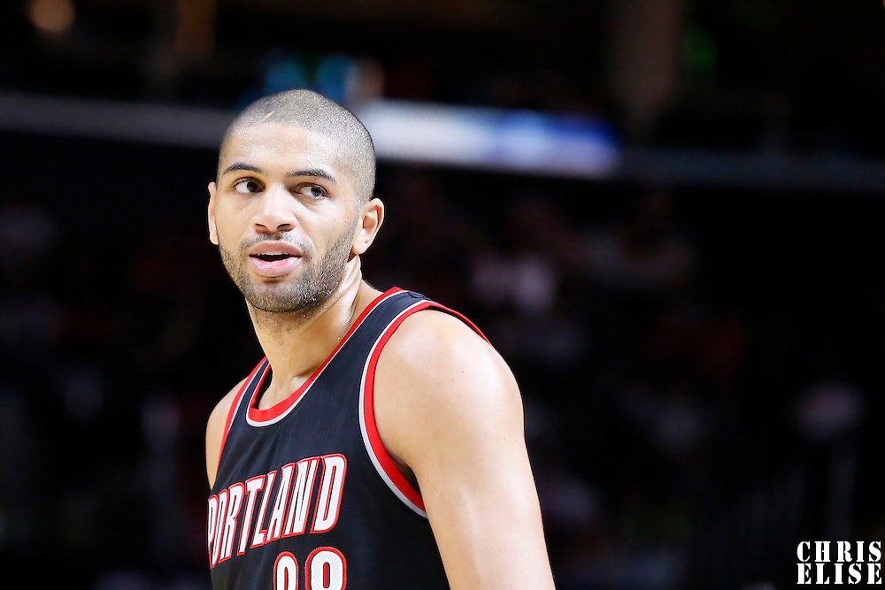 08 November 2014: Portland Trail Blazers forward Nicolas Batum (88) reacts during the Los Angeles Clippers 106-102 victory over the Portland Trail Blazers, at the Staples Center, Los Angeles, California, USA.