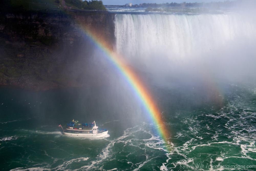 Canada, Ontario, Niagara Falls. Maid of the Mist and rainbow at Niagara Falls.