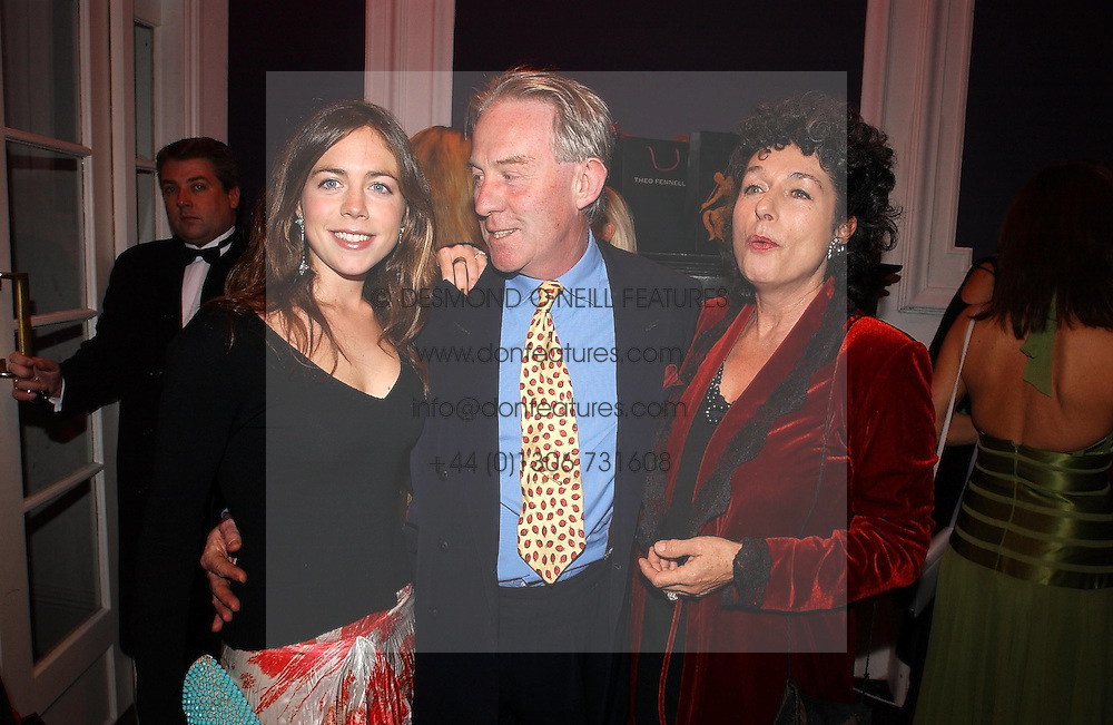 Left to right, MISS NATASHA LLEWELLYN and her parents MR &amp; MRS RODDY LLEWELLYN he was a friend of the Late Princess Margaret at a party hosted by jeweller Theo Fennell and Dominique Heriard Dubreuil of Remy Martin fine Champagne Cognac entitles 'Hot Ice' held at 35 Belgrave Square, London, W1 on 26th October 2004.<br />