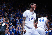 LEXINGTON, KY - DECEMBER 5: Willie Cauley-Stein #15 of the Kentucky Wildcats reacts after scoring a basket during the game against the Texas Longhorns at Rupp Arena on December 5, 2014 in Lexington, Kentucky. The Wildcats defeated the Longhorns 63-51. (Photo by Joe Robbins)