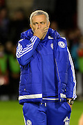 Chelsea Manager Jose Mourinho feeling tired during the Capital One Cup match between Walsall and Chelsea at the Banks's Stadium, Walsall, England on 23 September 2015. Photo by Alan Franklin.