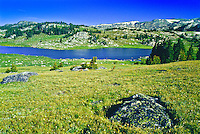 The alpine tundra around Long Lake on the Beartooth Plateau of the Bearthooth Mountains.  Shoshone National Forest, Wyoming.