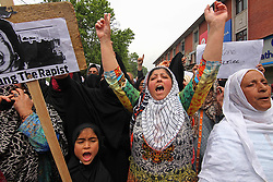 May 13, 2019 - Women protestors raise slogans during a protest in Srinagar, Kashmir on May 13, 2019.The agitated protestors were demanding justice in the alleged rape of a three-year-old girl in north Kashmir's Bandipora. (Credit Image: © Faisal KhanZUMA Wire)