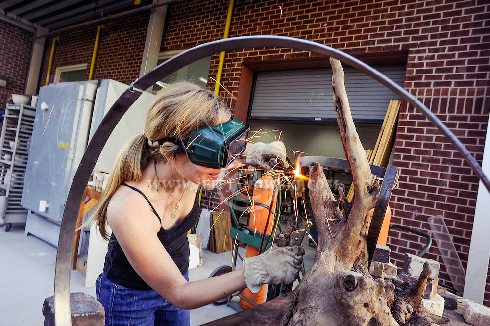 Ally Favory a graduate of UNCW's College of Arts & Sciences uses her creativity to create mixed-media sculptures which are on show at the Ann Flack Boseman Gallery through Dec. 20 in Fischer Student Union Center. Photo By:  Jeff Janowski