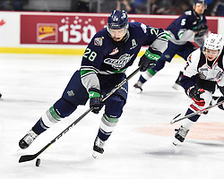 Keegan Kolesar of the Seattle Thunderbirds in Game 3 of the 2017 MasterCard Memorial Cup against the Windsor Spitfires on Sunday May 21, 2017 at the WFCU Centre in Windsor, ON. Photo by Aaron Bell/CHL Images