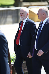 © Licensed to London News Pictures. 22/05/2018. Manchester, UK. Jeremy Corbyn arrives at the memorial service at Manchester cathedral. Today marks the first anniversary of the Manchester Arena bombing. 22 people died when Salman Abedi detonated a bomb at an Ariana Grande concert. Photo credit: Andrew McCaren/LNP