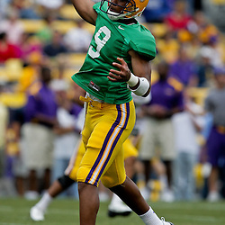 18 April 2009: LSU Tigers quarterback Jordan Jefferson (9) throws a pass during the 2009 LSU spring football game at Tiger Stadium in Baton Rouge, LA.
