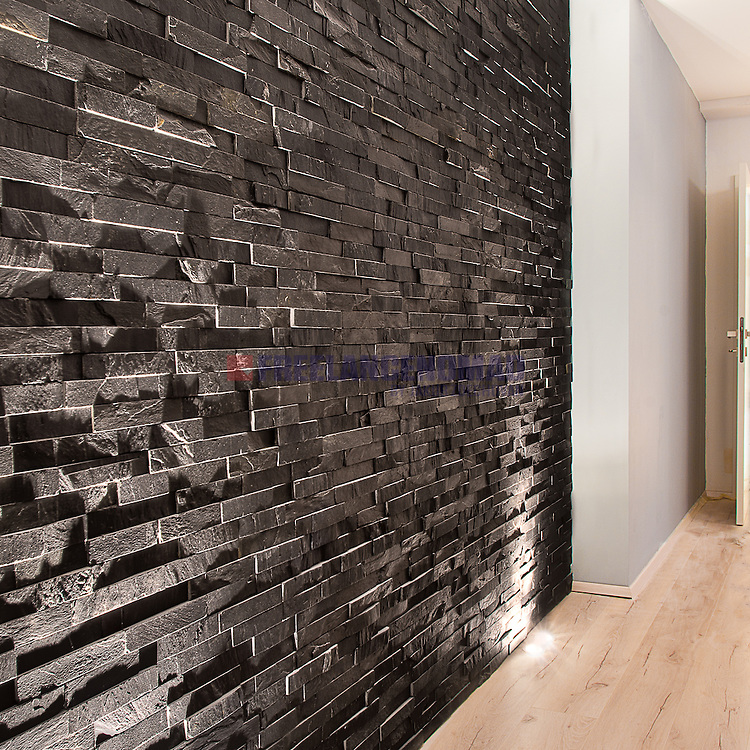 Natural Stone Black Slate N3003 wall panels siding glued bonded bands interior project rezalization