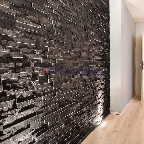 Merveilleux Natural Stone Black Slate N3003 Wall Panels Siding Glued Bonded Bands  Interior Project Rezalization.