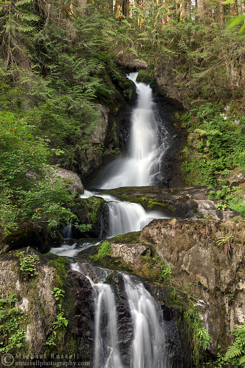 The upper half of Steelhead Falls near the Reservoir Trail in the Hayward Lake Recreational Area in Mission, British Columbia, Canada