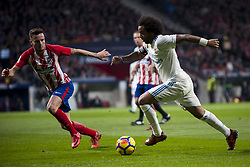 November 18, 2017 - Madrid, Madrid, Spain - Marcelo, Saul Ã'iguez during the match between Atletico de Madrid and Real Madrid, week 12 of La Liga at Wanda Metropolitano stadium, Madrid, SPAIN - 18th November of 2017. (Credit Image: © Jose Breton/NurPhoto via ZUMA Press)