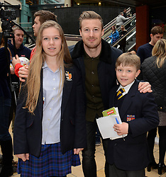 Bristol City fans have their photo taken with Bristol City's Wade Elliott - Photo mandatory by-line: Dougie Allward/JMP - Mobile: 07966 386802 - 11/03/2015 - SPORT - Football - Bristol - Cabot Circus Shopping Centre - Johnstone's Paint Trophy