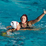 11 February 2018: The San Diego State  women's water polo team competes in day two of the Triton Invitation on the campus of UCSD. San Diego State Aztecs utility Shelby Kraft (7) defends CSUN Matadors Emma Franck (7) in the second quarter. The Aztecs took on the #23 CSUN Matadors Sunday morning and came away with a 8-5 win.<br /> More game action at www.sdsuaztecphotos.com