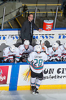 KELOWNA, CANADA - FEBRUARY 27: Assistant coach Kris Mallette stands on the bench and watches the replay of the Kelowna Rockets against the Spokane Chiefson February 27, 2016 at Prospera Place in Kelowna, British Columbia, Canada.  (Photo by Marissa Baecker/Shoot the Breeze)  *** Local Caption *** Kris Mallette;