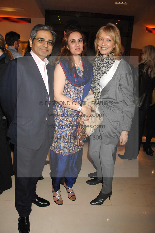 Left to right, MOHAMMED & SANIGA SYED and SUE WHITELEY at a reception to launch the 2007 Louis Vuitton Christmas windows in collaboration with Central Saint Martins College of Art & Design held at 17-18 New Bond Street, London W1 on 7th November 2007.<br />