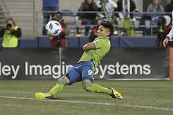 November 8, 2018 - Seattle, Washington, U.S - Seattle's RAUL RUIDIAZ (9) send a shot on goal as the Portland Timbers visit the Seattle Sounders in a MLS Western Conference semi-final match at Century Link Field in Seattle, WA. (Credit Image: © Jeff Halstead/ZUMA Wire)